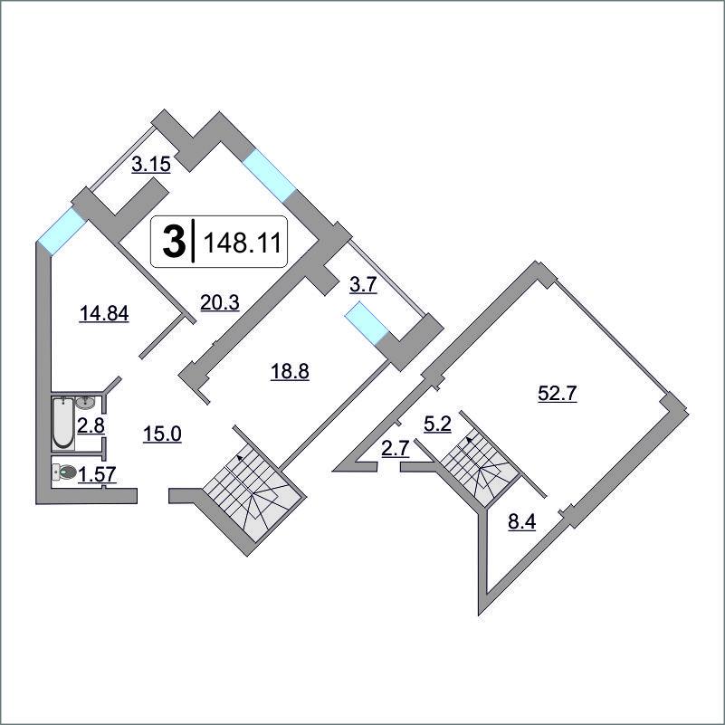 3 комнатная квартира  в 6 микрорайоне, ул. Валерии Гнаровской, 12/4, ЖК «на Гнаровской», г. Тюмень