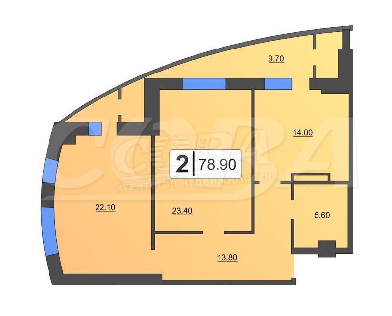 1 комнатная квартира  от застройщика,  в районе ЖД Вокзала, ул. Орловская, Жилой дом на Орловской, Тюмень