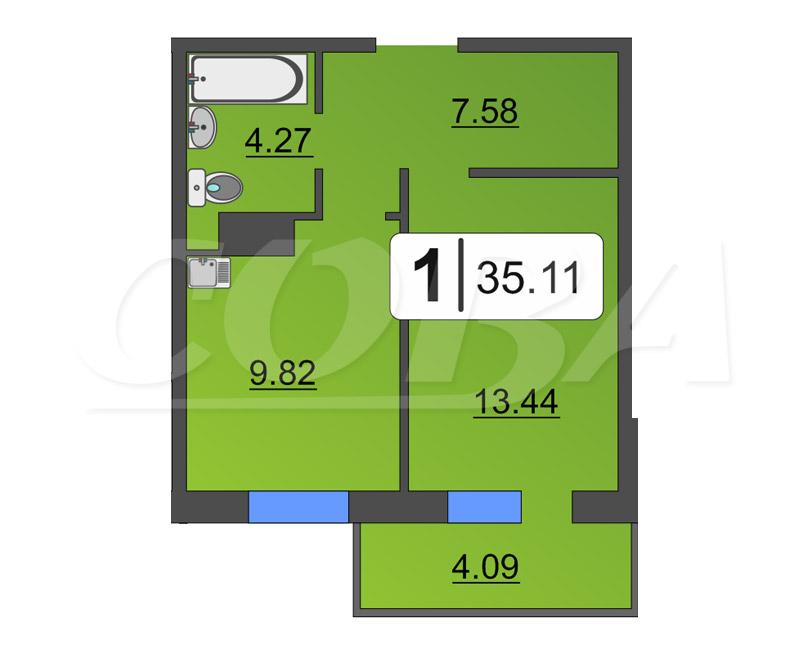 1 комнатная квартира  в районе Нагорный Тобольск, ул. 15-й микрорайон, 37, ЖК «Знаменский», г. Тобольск