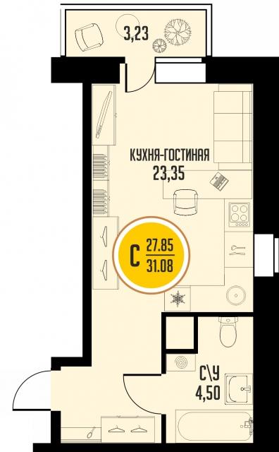 Студия от застройщика,  в районе Микрорайон №15, ул. 15-й микрорайон, ЖК «Знаменский», Тобольск