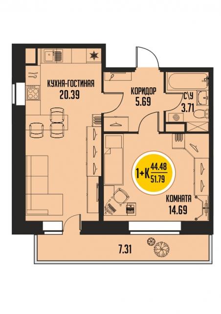 1 комнатная квартира  от застройщика,  в районе Микрорайон №15, ул. 15-й микрорайон, ЖК «Знаменский», Тобольск