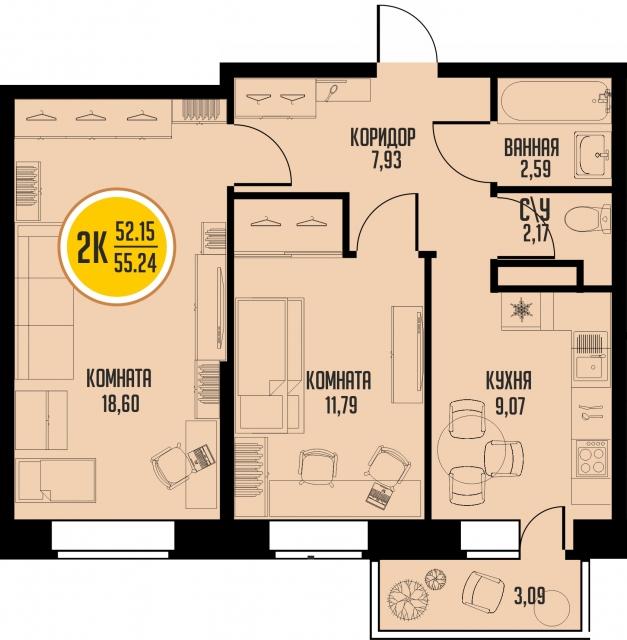 2 комнатная квартира  от застройщика,  в районе Микрорайон №15, ул. 15-й микрорайон, ЖК «Знаменский», Тобольск