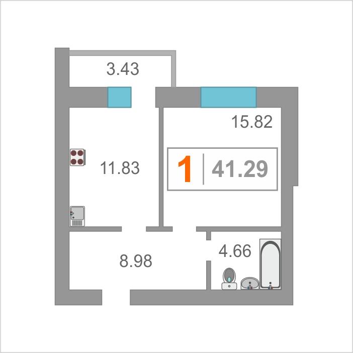 1 комнатная квартира  от застройщика,  в районе Московского тр., ул. Амурская, Жилой комплекс «Парковый», Тюмень