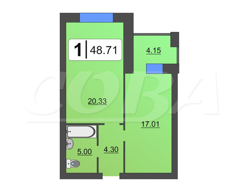 1 комнатная квартира  в районе Выставочного зала, ул. Севастопольская, 2/4, Жилой дом «на Пржевальского», г. Тюмень