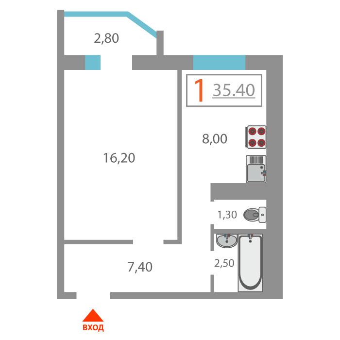 1 комнатная квартира  в Антипино, ул. Беловежская, 21, ЖК «Новоантипинский», г. Тюмень