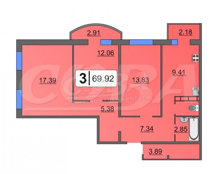 3 комнатная квартира  в пос. Антипино, ул. Беловежская, 7/3, Жилой комплекс «Новоантипинский», г. Тюмень