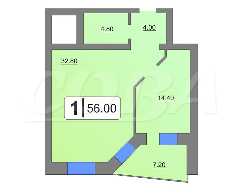 1 комнатная квартира  от застройщика,  в центре Тюмени, ул. Кузнецова, Жилой дом