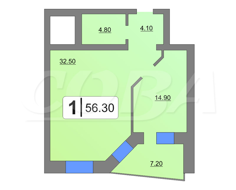 1 комнатная квартира  от застройщика,  в центре Тюмени, ул. Кузнецова, Жилой дом на ул. Кузнецова, Тюмень