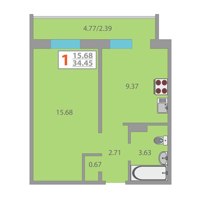 1 комнатная квартира  в районе Плеханово, ул. Интернациональная, 203/2, Жилой комплекс «Москва», г. Тюмень