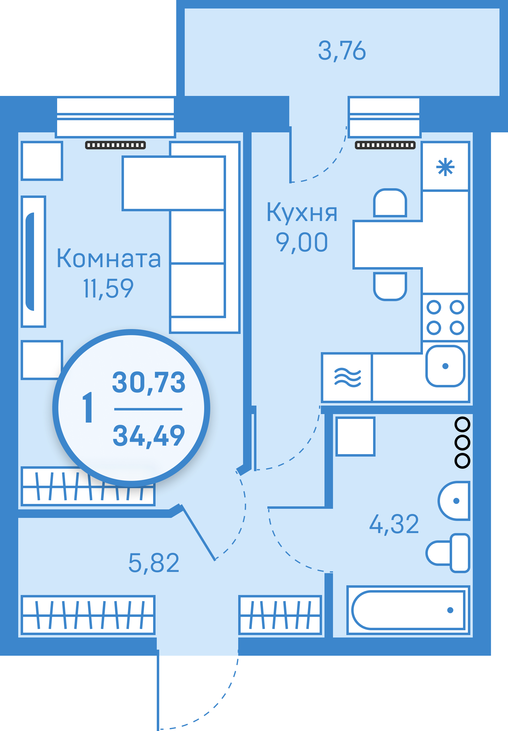 1 комнатная квартира  от застройщика,  в районе Тюменская слобода, ул. Фармана Салманова, ЖК «Легенда Парк», Тюмень