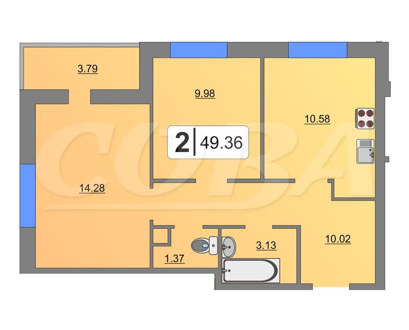 2 комнатная квартира  в районе Тюменская слобода, ул. Фармана Салманова, 8, ЖК «Легенда Парк», г. Тюмень