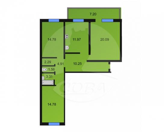 3 комнатная квартира  в районе Войновка, ул. Широтная, 213, г. Тюмень, код 166864 - планировка