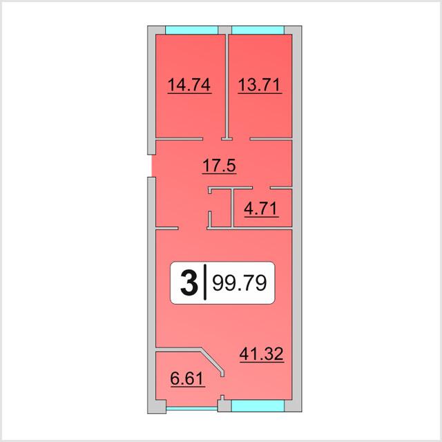 3 комнатная квартира  от застройщика,  в районе Московский дворик, ул. Академический проезд, ЖК «Комфорт-Клуб», Дударева