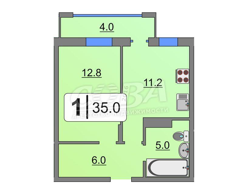 1 комнатная квартира  в районе Тюменская слобода, ул. Обдорская, 1, Жилой комплекс «Клевер парк», г. Тюмень