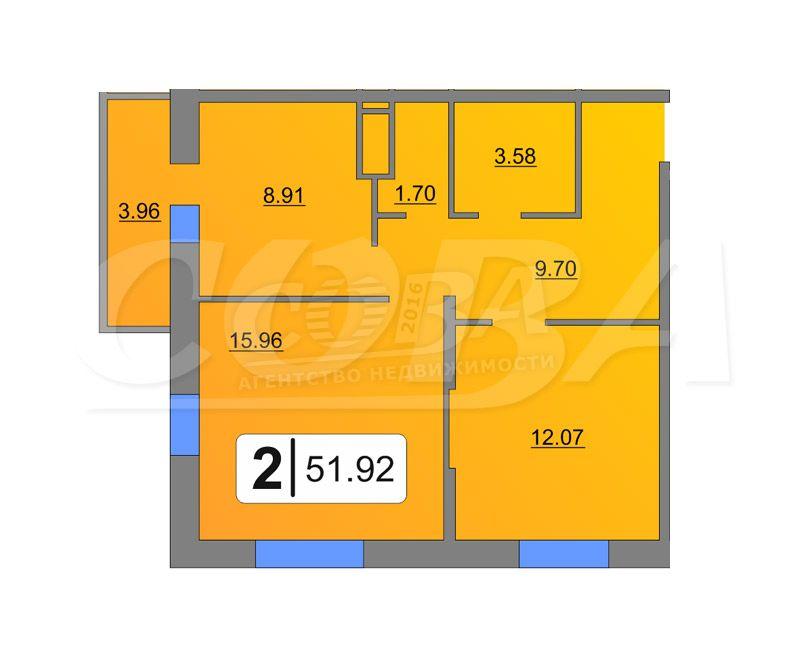 2 комнатная квартира  в Тюменском-4 мкрн., ул. Дмитрия Менделеева, 2, Жилой комплекс «Кристалл», г. Тюмень