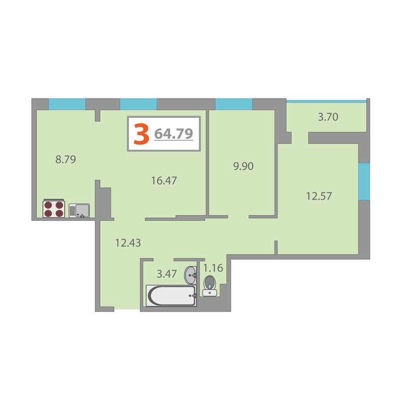 3 комнатная квартира  в Тюменском-3 мкрн., ул. Раушана Абдуллина, 6/1, Жилой комплекс «Кристалл», г. Тюмень