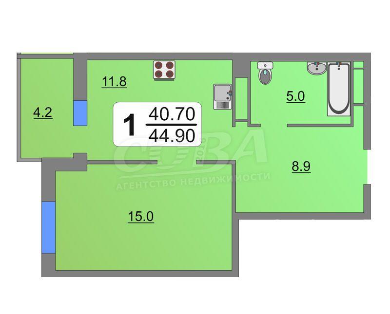 1 комнатная квартира  в районе Югра, ул. Велижанская, 70/1, Жилой квартал «Заречный», г. Тюмень