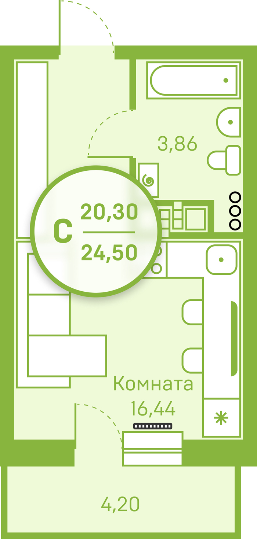 Студия в новом доме,  в районе Югра, Жилой квартал «Заречный», г. Тюмень
