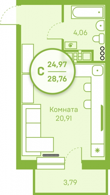 Студия в районе Югра, ул. Велижанская, 66, ЖК «Заречный», г. Тюмень