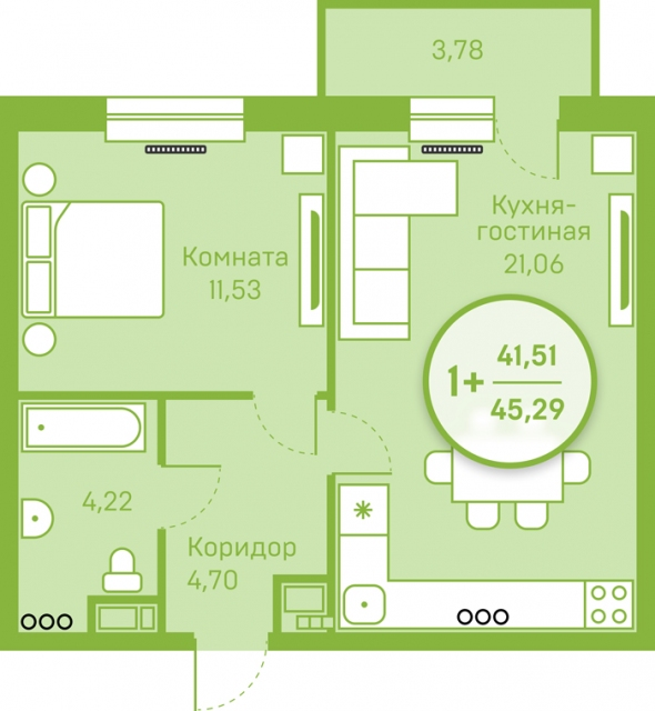 1 комнатная квартира  в районе Югра, ул. Велижанская, 66, г. Тюмень
