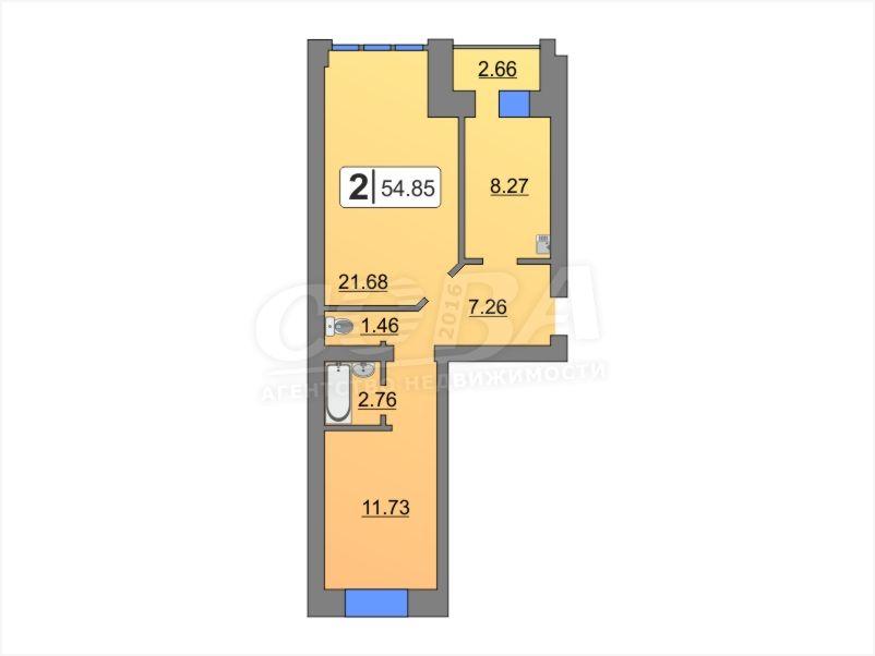 2 комнатная квартира  в районе центральная часть, ул. Мира, 36, ЖК «Боровский», п. Боровский