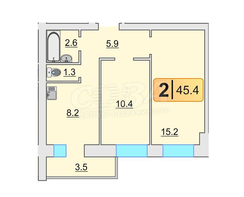2 комнатная квартира  в районе ММС, ул. Голышева, 2, Жилой комплекс «Роза ММС», г. Тюмень