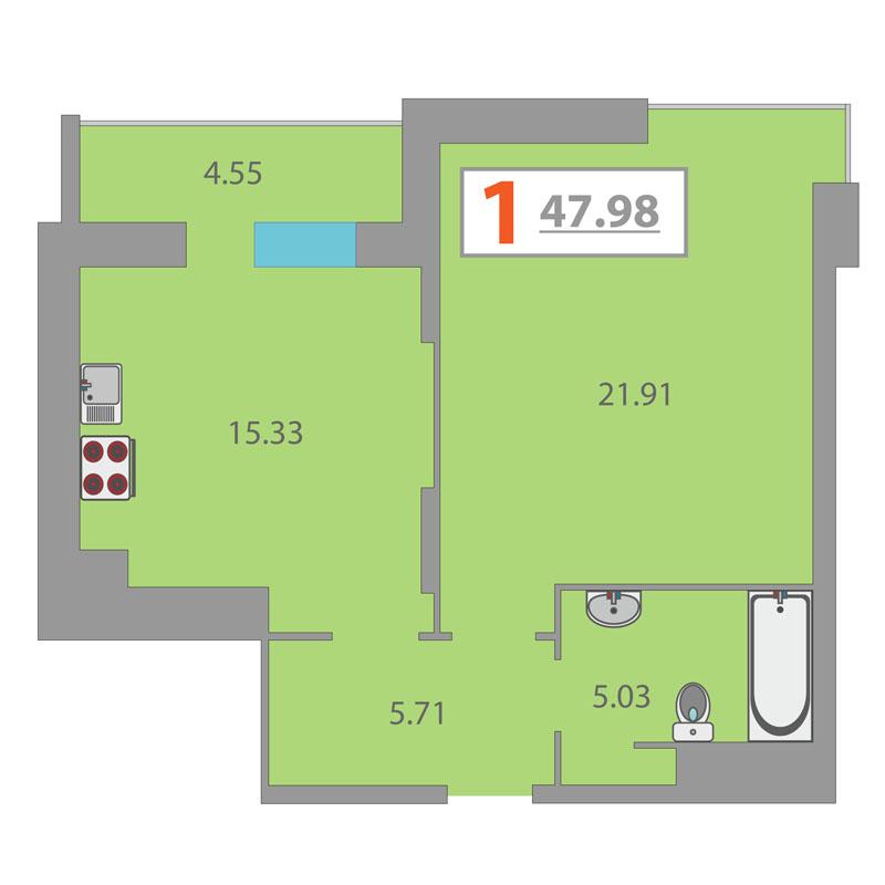 1 комнатная квартира  в районе Дома печати, ул. 50 лет Октября, 4, ЖК «Fifty Fifty», г. Тюмень