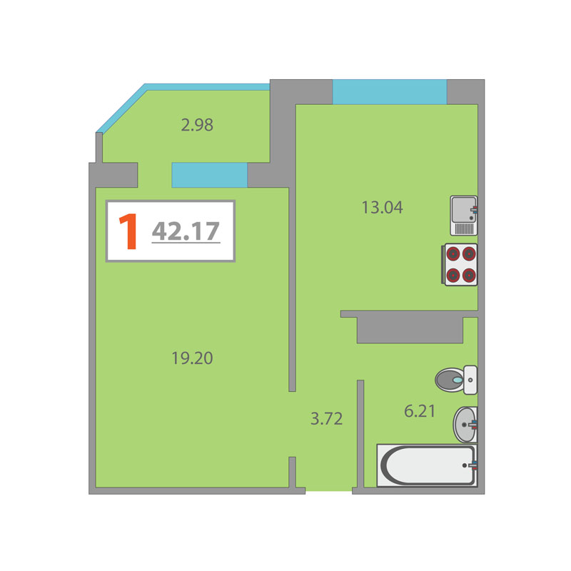 1 комнатная квартира  в районе Плеханово, ул. Московский тракт, 152, ЖК «Плеханово», г. Тюмень