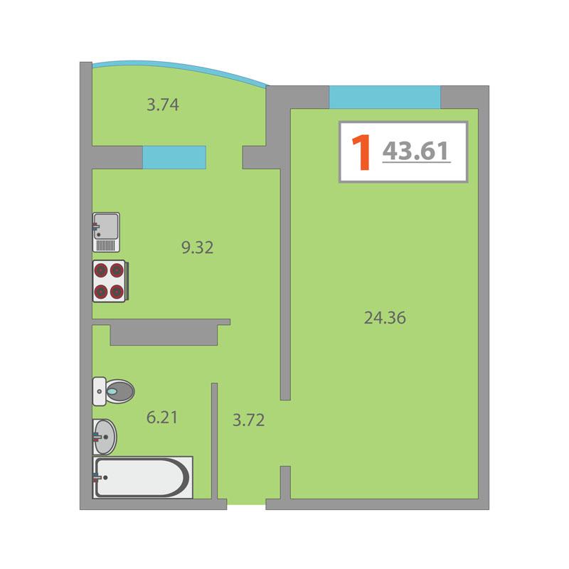 1 комнатная квартира  в районе Плеханово, ул. Московский тракт, 150, ЖК «Плеханово», г. Тюмень