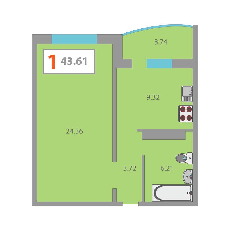 1 комнатная квартира  в районе Плеханово, ул. Кремлевская, 112/2, ЖК «Плеханово», г. Тюмень