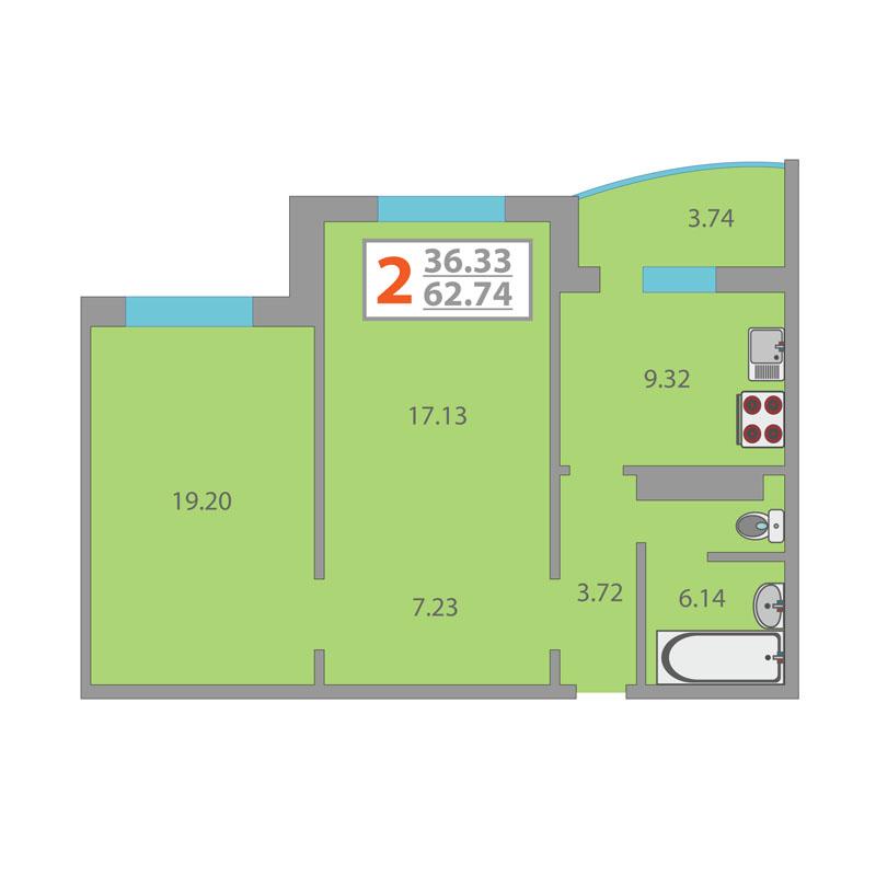 2 комнатная квартира  в районе Плеханово, ул. Московский тракт, 154/1, ЖК «Плеханово», г. Тюмень