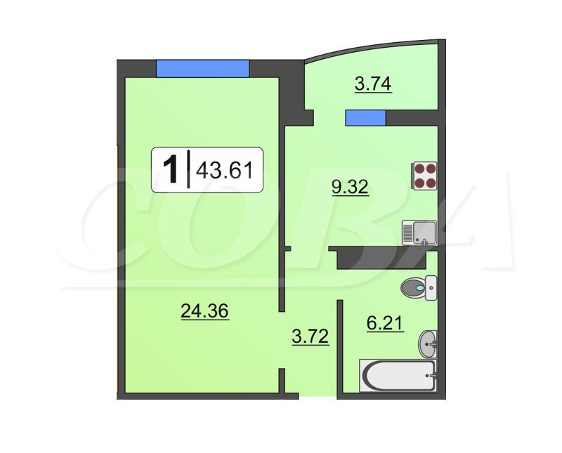 1 комнатная квартира  в районе Тюменская Слобода, ул. Созидателей, 10, ЖК «Комарово», д. Дударева