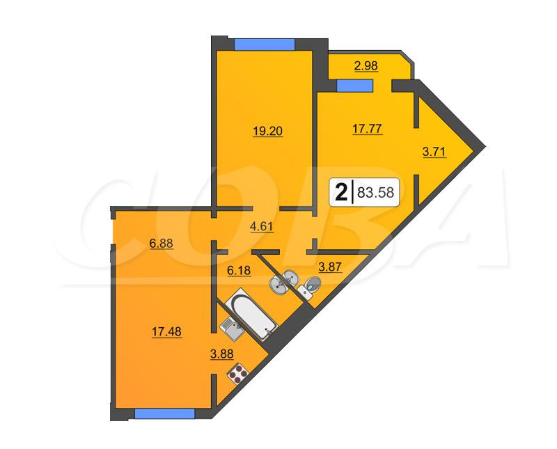 2 комнатная квартира  в районе Тюменская Слобода, ул. Созидателей, 11, ЖК «Комарово», д. Дударева