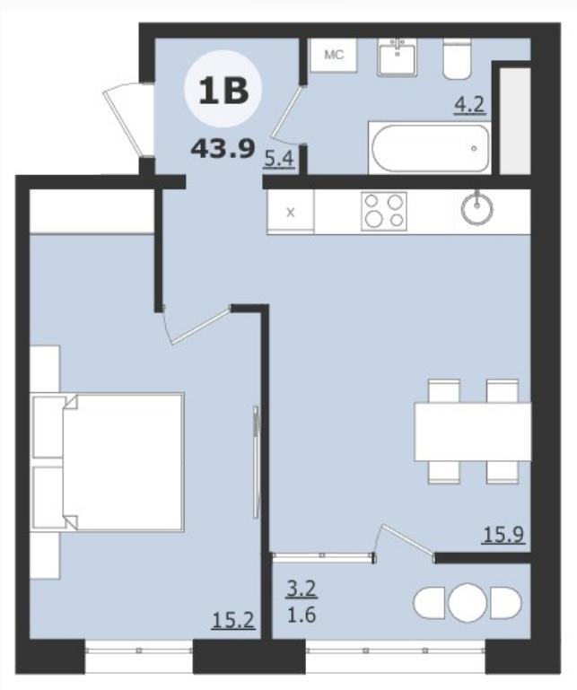 1 комнатная квартира  от застройщика,  в районе ТРЦ Союз, ул. Университетская, Жилой микрорайон «За ручьём», Сургут