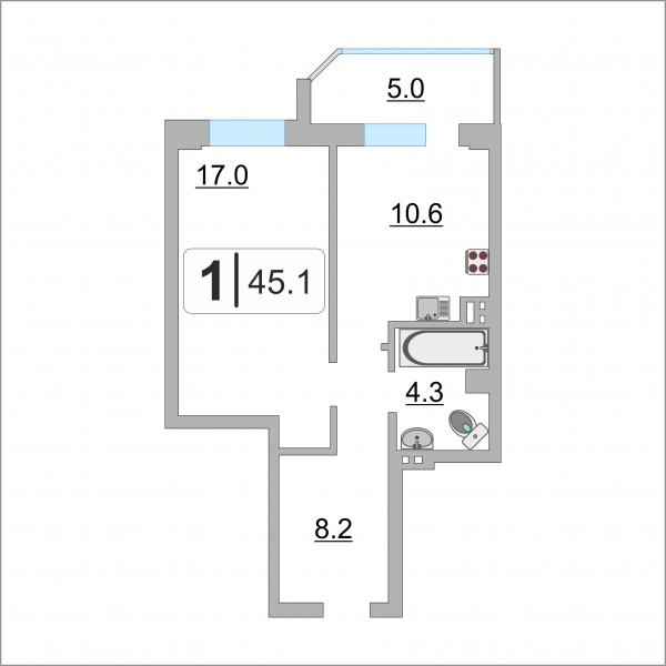 1 комнатная квартира  в районе Александрия, ул. Крылова, 53/1, Жилой комплекс «Новые ключи», г. Сургут
