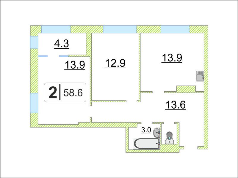 2 комнатная квартира  в районе ул.Елизарова, ул. Мельникайте, 38/1, ЖК «Правобережный», г. Тюмень