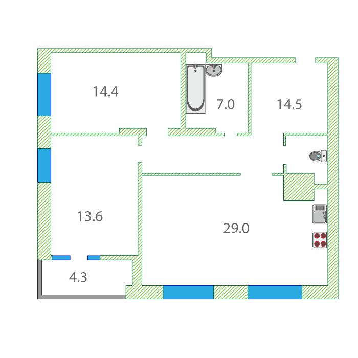 2 комнатная квартира  в районе ул.Елизарова, ул. Мельникайте, 32/2, ЖК «Правобережный», г. Тюмень