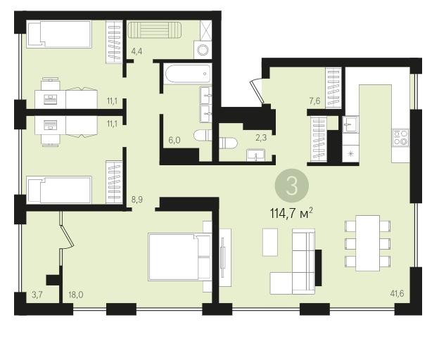 3 комнатная квартира  от застройщика,  в районе Автовокзал, ул. Игоря Киртбая, Квартал «Новин» Сургут, Сургут