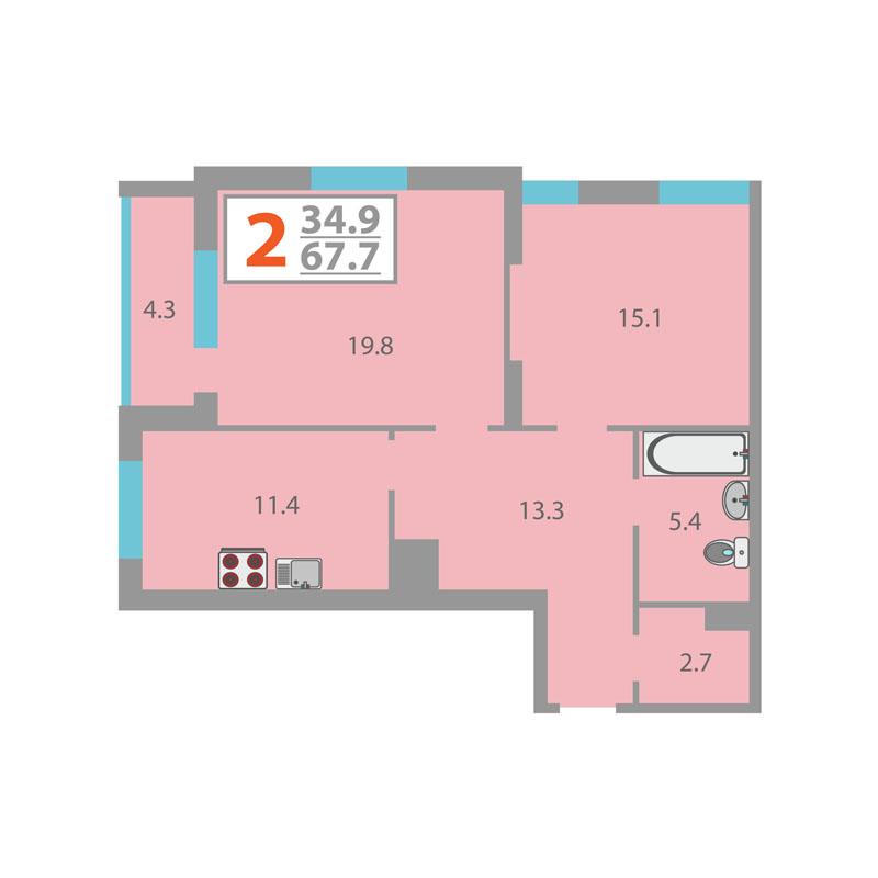 2 комнатная квартира  от застройщика,  в Заречном 2 мкрн., ул. Газовиков, Жилой комплекс «Фэнси», Тюмень