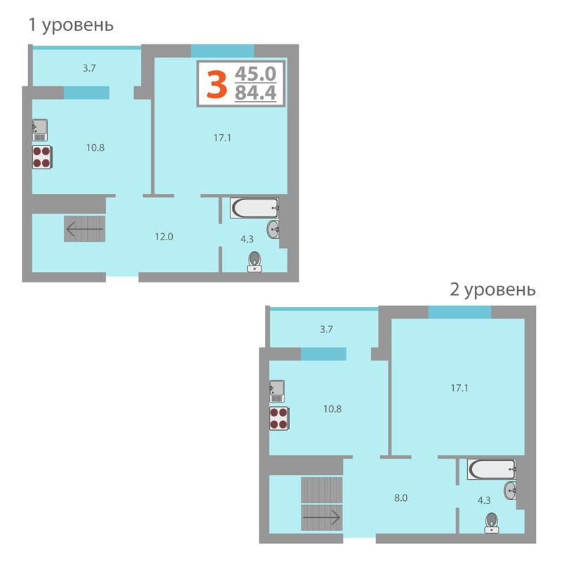 3 комнатная квартира  от застройщика,  в Заречном 2 мкрн., ул. Газовиков, Жилой комплекс «Фэнси», Тюмень