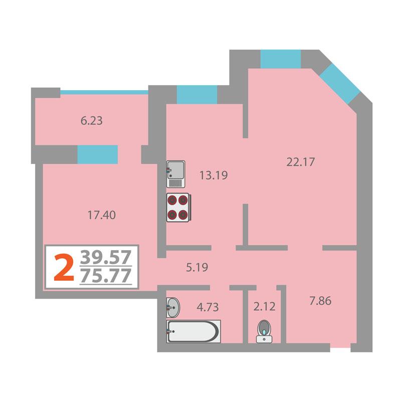 2 комнатная квартира  в историческом центре, ул. Герцена, 43, Жилой комплекс «на Герцена», г. Тюмень