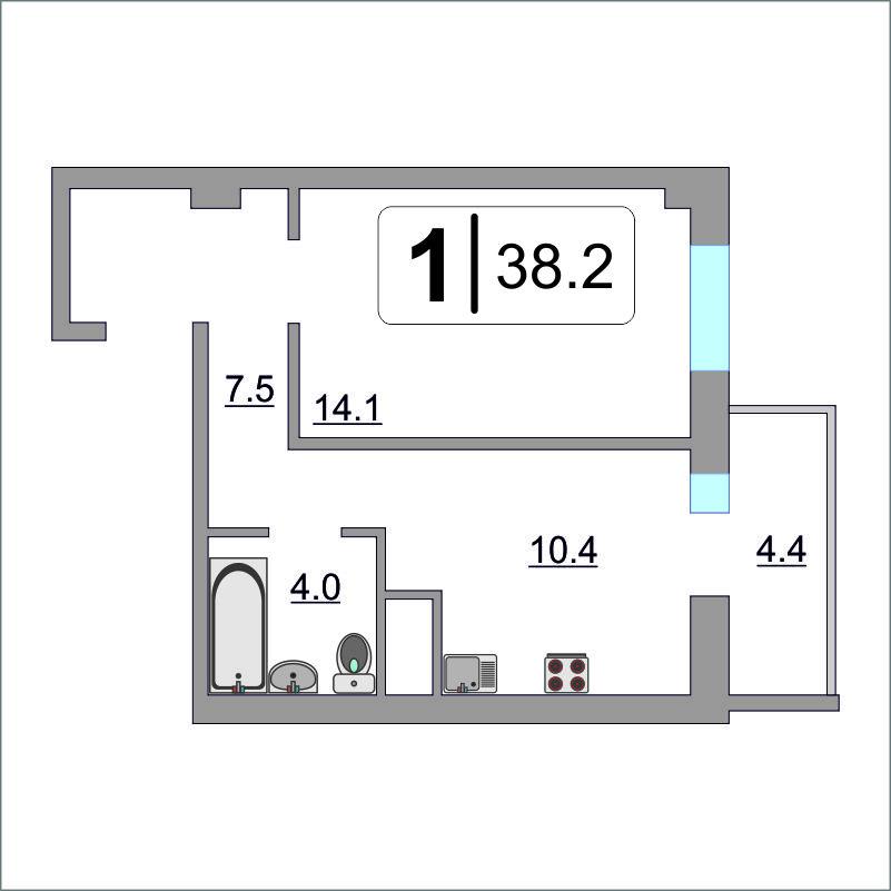 1 комнатная квартира  в районе Мыс, ул. Парада Победы, 7, Жилой комплекс «Зеленый мыс», г. Тюмень