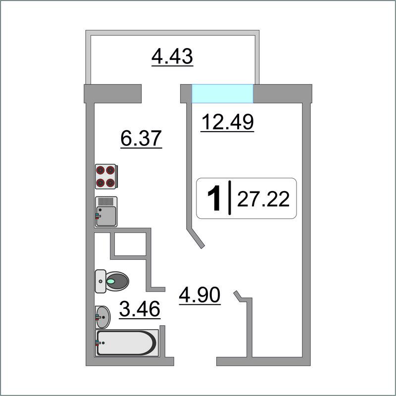 1 комнатная квартира  в районе Док, ул. Ботаническая, 1/1, Жилой комплекс «Чемпионский», г. Тюмень