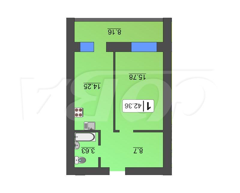 1 комнатная квартира  в районе Южный 2/ Чаплина, ул. Мельникайте, 138А, Жилой квартал «Солнечный город», г. Тюмень