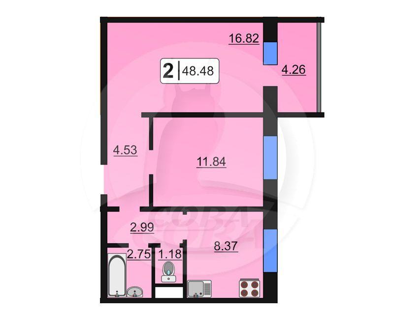 2 комнатная квартира  в районе ММС, ул. Сидора Путилова, 43, Жилой комплекс «Лукоморье», г. Тюмень