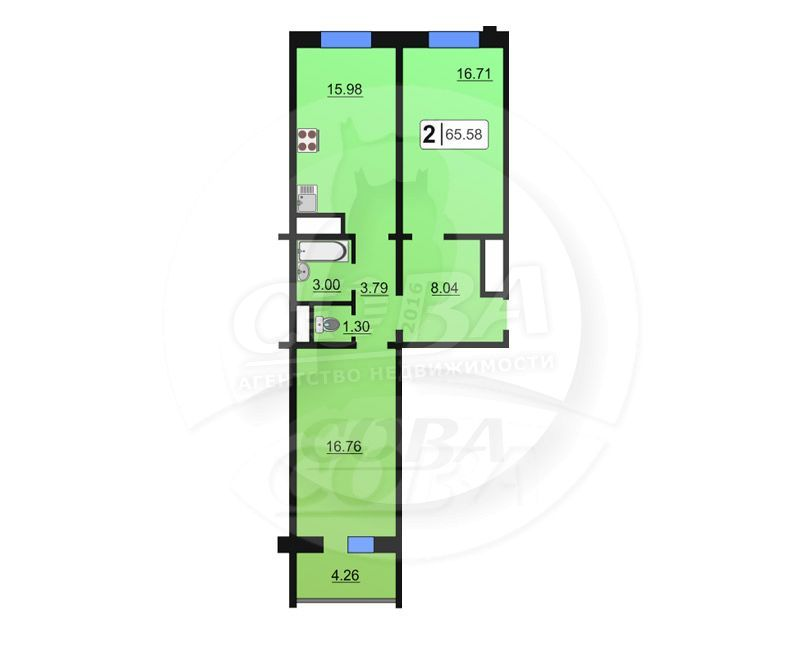2 комнатная квартира  в районе ММС, ул. Сидора Путилова, 45, Жилой комплекс «Лукоморье», г. Тюмень