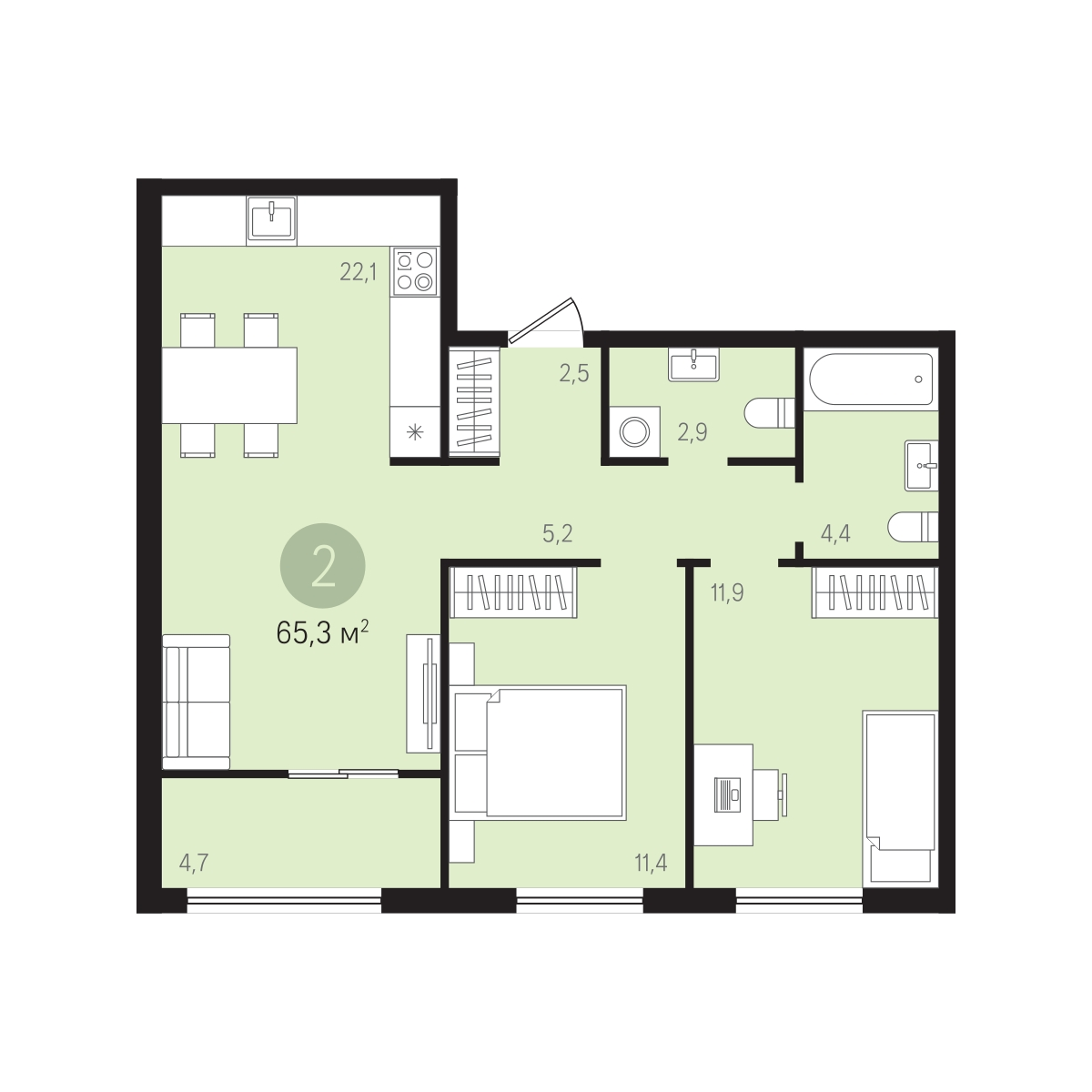 2 комнатная квартира  в районе Суходолье, ул. Николая Ростовцева, 26, ЖК «Видный», г. Тюмень