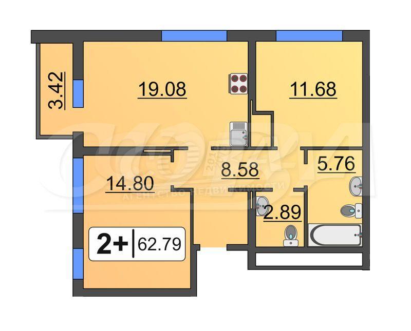 2 комнатная квартира  в Европейском мкрн., ул. Эрвье, 32/1, Микрорайон «Европейский», г. Тюмень