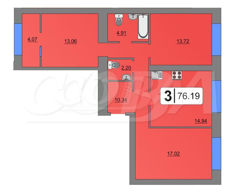 3 комнатная квартира  в Европейском мкрн., ул. Тихий проезд, 2, Микрорайон «Европейский», г. Тюмень
