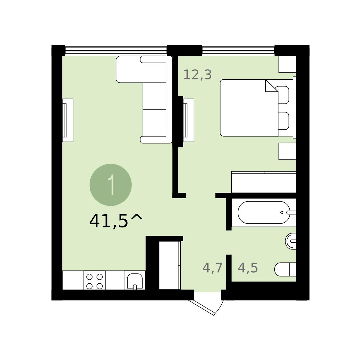 1 комнатная квартира  на КПД в районе 50 лет Октября, ул. 50 лет Октября, 57В, ЖК «Новин», г. Тюмень